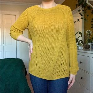 mustard oversized cable knit sweater 💛